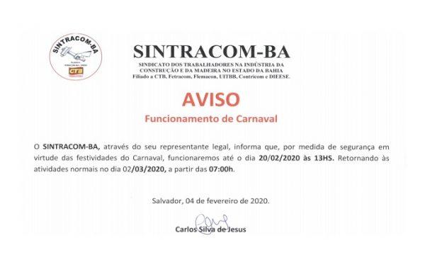 AVISO: Funcionamento no CARNAVAL