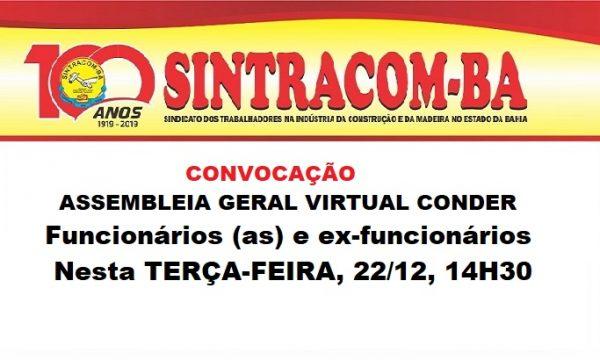 Conder: Assembleia geral virtual, 22/12, 14h30
