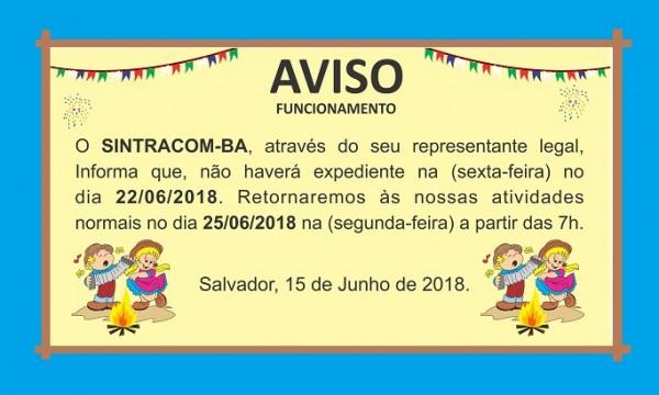 AVISO: NÃO HAVERÁ EXPEDIENTE NO DIA 22/06