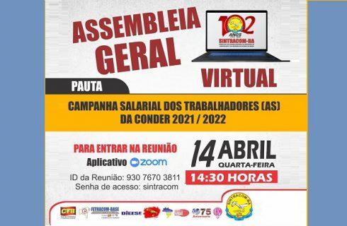 Hoje 14/04, às 14h30: Assembleia Geral dos Trabalhadores (as) da CONDER