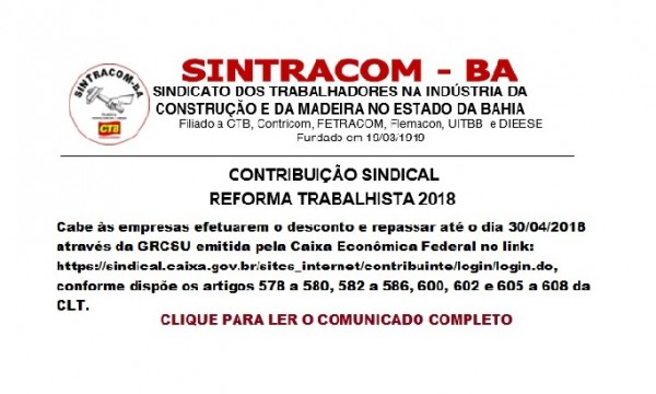 ATENÇÃO: COMUNICADO ÀS EMPRESAS: CONTRIBUIÇÃO SINDICAL 2018